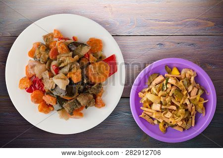 Vegetable Stew On A Wooden Background .healthy Food.