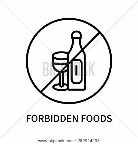 Forbidden Foods Icon Isolated On White Background. Forbidden Foods Icon Simple Sign. Forbidden Foods