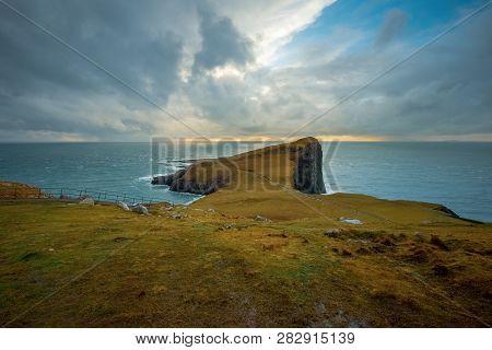 The Landscape Around Neist Point Lighthouse, Isle Of Skye, Scotland, United Kingdom