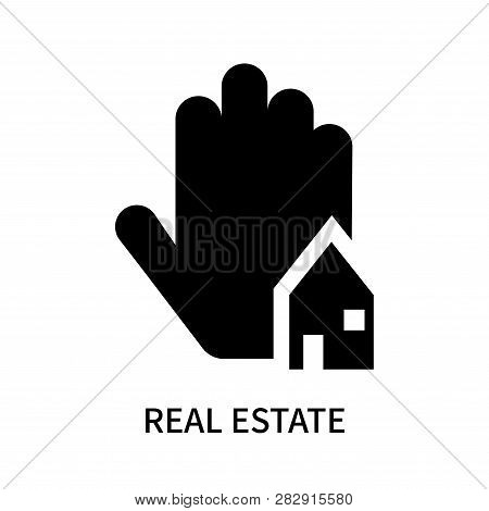 Real Estate Business House On A Hand Icon Isolated On White Background. Real Estate Business House O