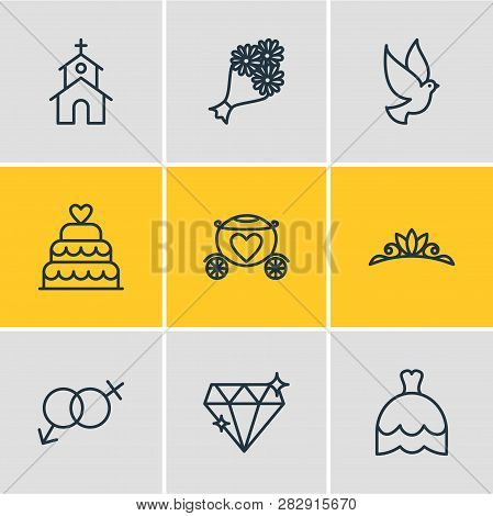 Vector Illustration Of 9 Engagement Icons Line Style. Editable Set Of Dove, Posy, Brougham And Other
