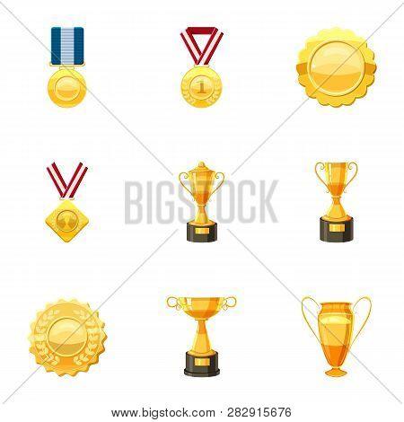 Awards Icons Set. Cartoon Set Of 9 Awards Icons For Web Isolated On White Background
