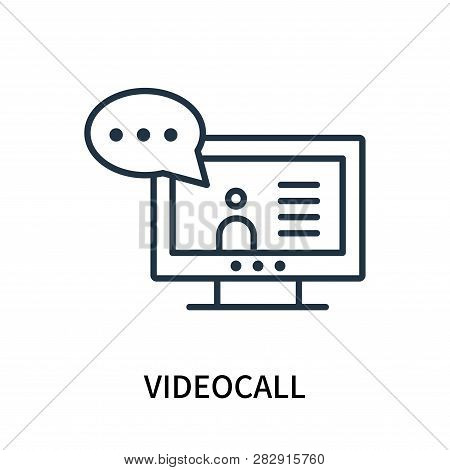 Videocall Icon Isolated On White Background. Videocall Icon Simple Sign. Videocall Icon Trendy And M
