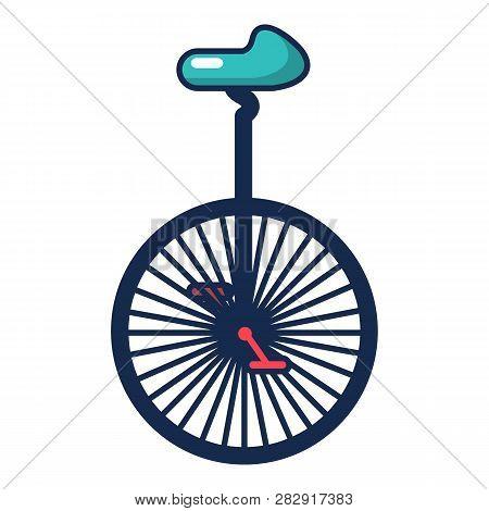 Circus Unicycle One Wheel Bicycle Icon. Cartoon Illustration Of Circus Unicycle One Wheel Bicycle Ic