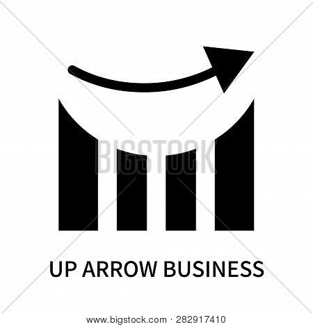 Up Arrow Business Stats Graphic Icon Isolated On White Background. Up Arrow Business Stats Graphic I