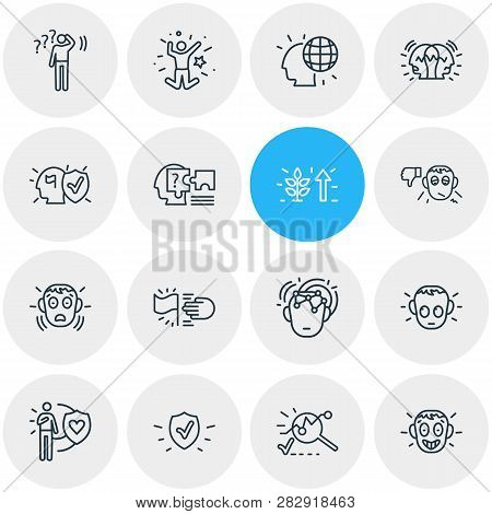 Illustration Of 16 Emotions Icons Line Style. Editable Set Of Analysis, Undecided, Honesty And Other