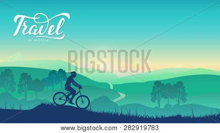 Cyclist Rides On The Trail In Nature Background. Summer Morning Nature Illustration. Sport Lifestyle