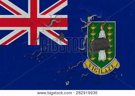 Close Up Grungy, Damaged And Weathered British Virgin Islands Flag On Wall Peeling Off Paint To See