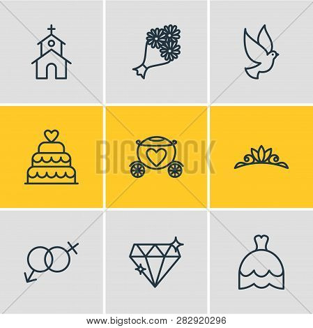 Illustration Of 9 Marriage Icons Line Style. Editable Set Of Dove, Posy, Brougham And Other Icon Ele