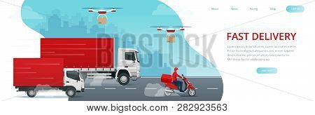Logistics And Fast Delivery Of Package Service Service Lendingpage Template. Delivery Home And Offic