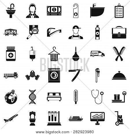 Occupation Icons Set. Simple Style Of 36 Occupation Icons For Web Isolated On White Background