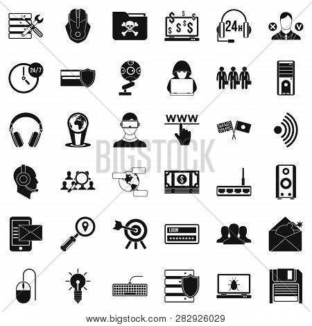 Cyber Security Icons Set. Simple Style Of 36 Cyber Security Icons For Web Isolated On White Backgrou
