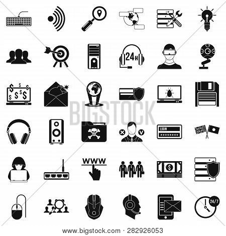 Cyber Protection Icons Set. Simple Style Of 36 Cyber Protection Icons For Web Isolated On White Back