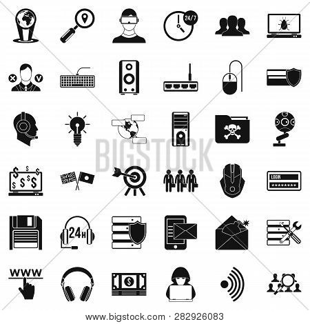 Cyber Shield Icons Set. Simple Style Of 36 Cyber Shield Icons For Web Isolated On White Background