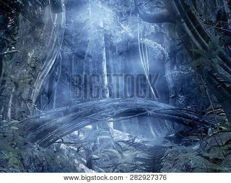 Enchanted Blue Forest With An Old Trunk - 3d Illustration