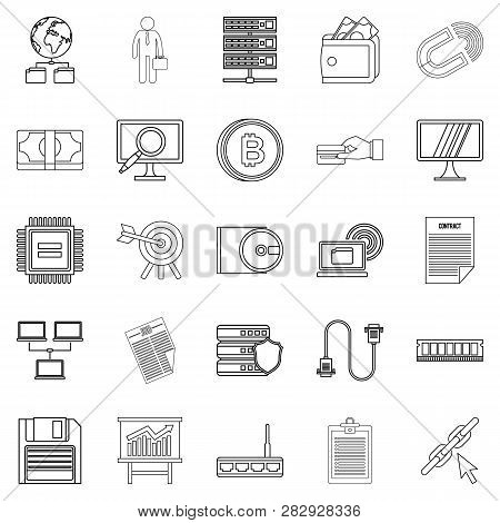 Clerk Icons Set. Outline Set Of 25 Clerk Icons For Web Isolated On White Background
