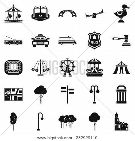 Urban Recreation Park Icons Set. Simple Set Of 25 Urban Recreation Park Icons For Web Isolated On Wh