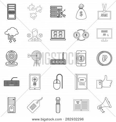 Bank Clerk Icons Set. Outline Set Of 25 Bank Clerk Icons For Web Isolated On White Background
