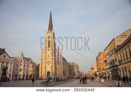Novi Sad, Serbia - January 27, 2018: The Name Of Mary Church, Or Novi Sad Catholic Cathedral On A Su