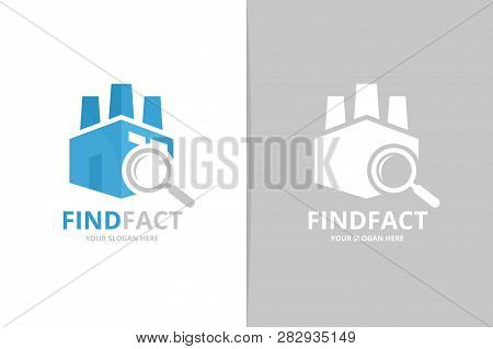 Factory And Loupe Logo Combination. Unique Manufacturing And Search Logotype Design Template.