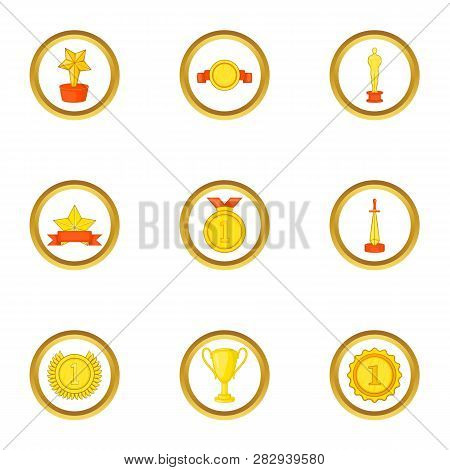 Victory Icons Set. Cartoon Set Of 9 Victory Icons For Web Isolated On White Background