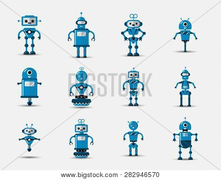 Funny Vintage Funny Vector Robot Set Icon In Flat Style Isolated On Grey Background. Vintage Illustr