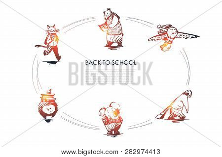 Back To School - Cat With Satchel, Bear With Book, Bird With Bag, Panda With Schoolbag, Hedgehog Wit