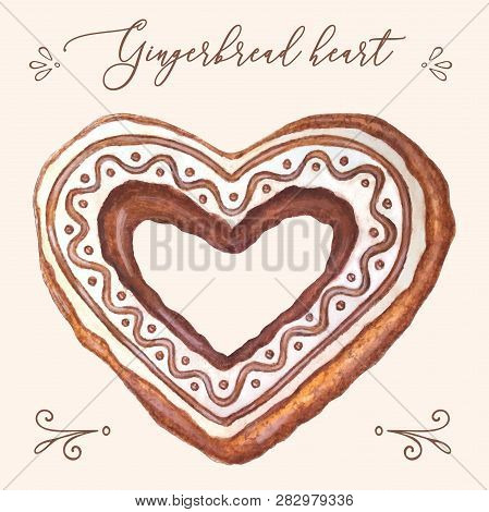Gingerbread Heart Vector. Gingerbread Heart Vector Illustration For Christmas Card, Menu, Recipes. W