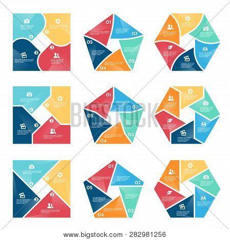 Square Pentagon And Hexagon Chart Infographic (part Four, Part Five And Part Six) Vector Set Design