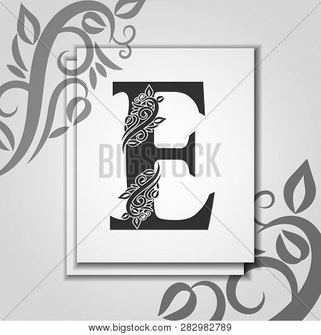 Premium Letter E With Elegant Floral Contour For Initials Logo. Letter E Isolated On Modern Card. Un