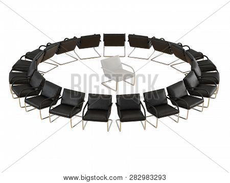 Black Leather Chairs Stand In A Circle White Chair In The Center Of The Circle On A White Background