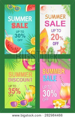 Summer Sale Posters Set Offer Vector. Proposition And Good Deal Bargain Of Shop. Sunglasses And Cock