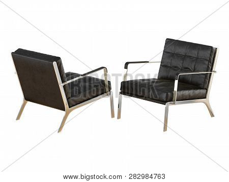 Two Leather Chairs Made Of Black Leather On A White Background 3d Rendering