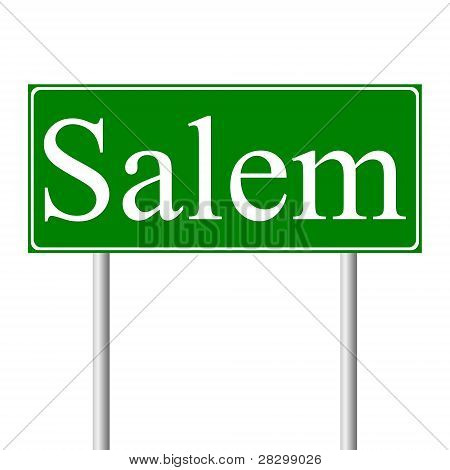 Salem green road sign