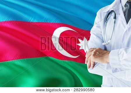 Xxx Doctor Standing With Stethoscope On Xxx Flag Background. National Healthcare System Concept, Med