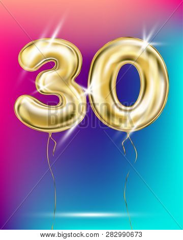 Gold Foil Balloon Thirty 30 Number On Disco Rainbow Gradient Background