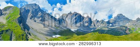 Mountain Panorama. Panorama Of Summer  Alps, France.