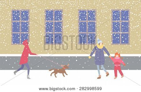 Lady Walking Dog On Leash Strolling Along Street Vector. Mother Holding Child On Hand, Wearing Warm
