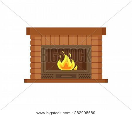 Fireplace With Metal Frame, Construction Made Of Brick Vector. Flames And Burning Logs Wood Material