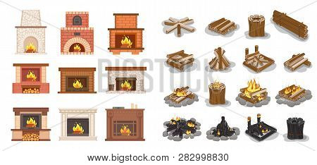 Fireplace Isolated Icons Set Logs Wooden Material Vector. Furniture Home Decoration, Stone And Brick