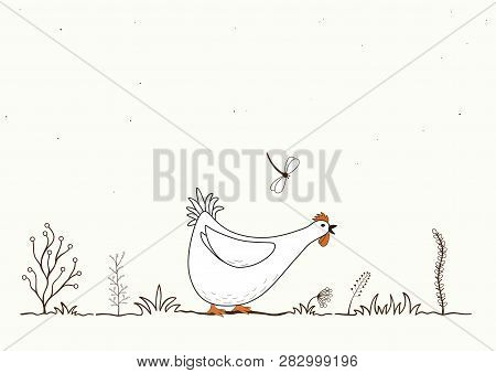 Illustration Of Funny Cartoon Chicken And Butterfly On White Background