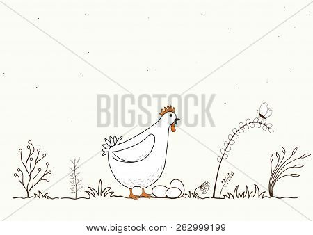 Illustration Of Funny Cartoon Chicken And Eggs On White Background