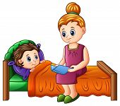 Cartoon mother reading bedtime story to her son before sleeping poster