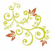 Green stylized floral pattern isolated on a white background. poster