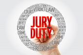 Jury Duty word cloud collage with marker, law concept background poster