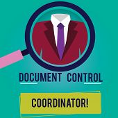 Conceptual hand writing showing Document Control Coordinator. Business photo showcasing analysisaging and controlling company documents Magnifying Glass Enlarging a Tuxedo and Label Tag Below. poster