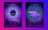 Electro event. Abstract show banner set. Dynamic gradient shape and line. Electro event neon flyer. Trance dance music. Electronic sound. Club fest poster. Techno dj party. poster