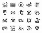 Parking icons. Car garage, Valet servant and Paid transport parking icons. Video monitoring, Bike or Car park and Truck or Bus transport garage. Money payment, Map pointer and Free park. Vector poster