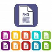 File PNG icons set illustration in flat style in colors red, blue, green, and other poster