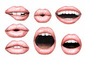 Plump puffy pink lips with Nude lipstick set. Watercolor hand drawn illustration,  isolated on white background poster